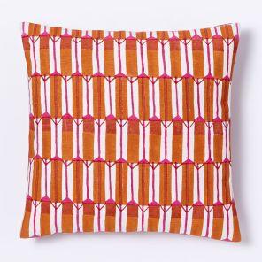 Hand-blocked silk zip stripe pillow