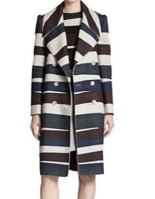 Carven Stripped Wool Trenchcoat
