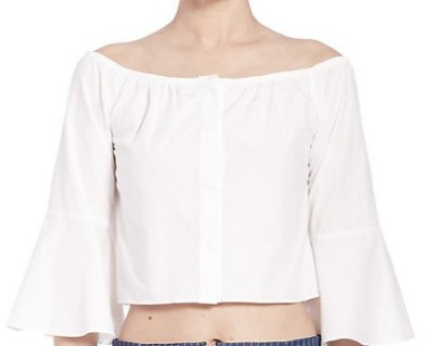 Nicholas Off Shoulder Elbow Flare Shirt