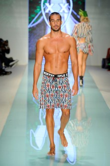 MIAMI, FL - JULY 20: A model walks the runway during Mister Triple X at Miami Swim Week Art Hearts Fashion at FUNKSHION Tent on July 20, 2017 in Miami, Florida. (Photo by Arun Nevader/Getty Images for Art Hearts)