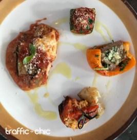 Berengena en salsa roja, Calabacines rellenos de carne roja y tomate relleo de Arroz
