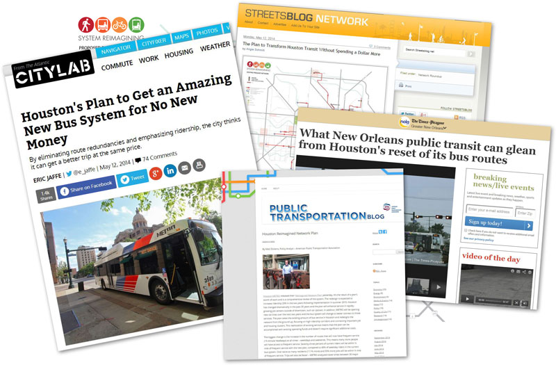 headlines from national articles recognizing the METRO Reimagining Plan