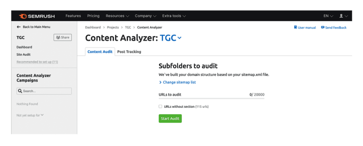 Select subfolders to edit in Content Analyzer