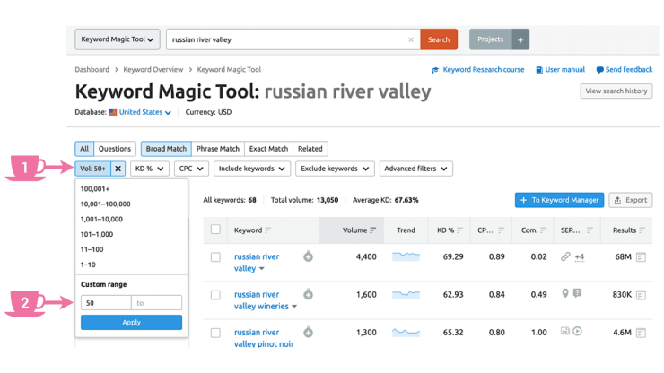 In Keyword Magic Tool apply Volume filter