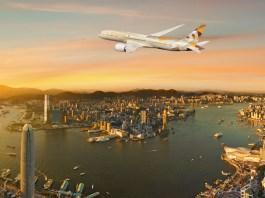 阿提哈德航空 Etihad Airways B787-9 flying over Hong Kong