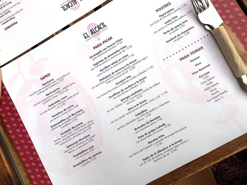 Carta restaurante Valencia El Alcacil