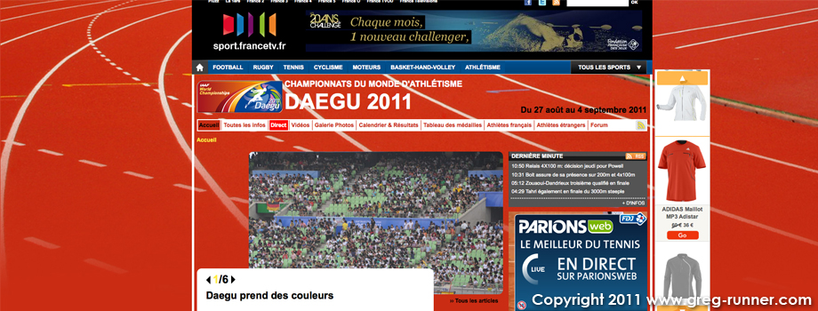 Daegu: les championnats du monde d'athlétisme 2011 en direct...