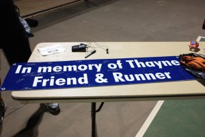 Sign made by Red Mountain Running for Thayne Hansen