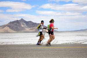 Emily Berriochoa and Pacer Amy King finishing the Salt Flats 100