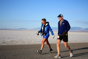 Liz Bauer and Scott Brockmeier Finishing the Salt Flats 100