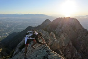 Jason and Andy Dorais scrambling along a peak