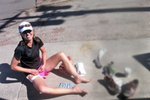 Picture of Lara Robinson getting ready to pace at the Big Horn Ultra Marathon