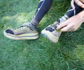 picture of mark kreuzer after modifying the hoka mafate 2 at the wasatch 100