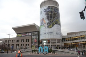 picture of giant wrap on outside of of Salt Lake City Convention Center for OR