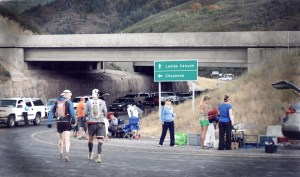 picture of mark kreuzer walking at the wasatch 100