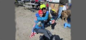 picture of emily at the finish of the antelope island buffalo 100