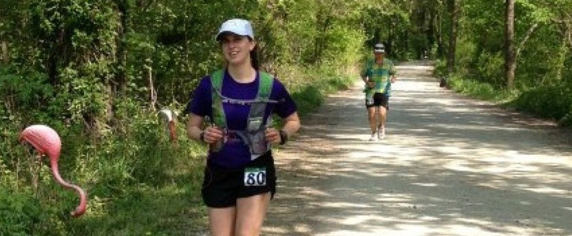 picture of rebecca schaefer with the UltrAspire Alpha pack while running