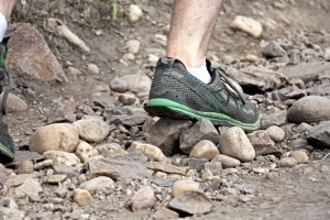 picture of altra running shoe running across rocks at mount olympus salt lake city utah
