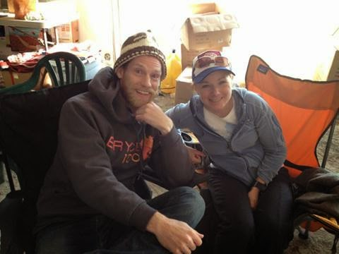 Happy and relaxing with Jennilyn Eaton, women's 100 mile champ and course record holder of 20:18.00. Photo: Kelly Agnew