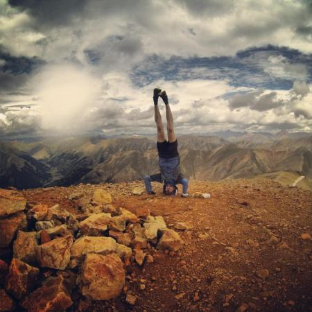 Redcloud Peak summit headstand