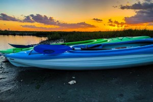 two kayaks stopped on the banks of the cherry grove salt marsh