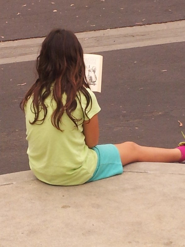 Reading on the curb