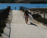 Girl white board dog beach