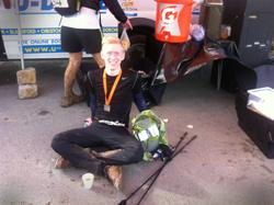 Andreas Hedensted hviler sig i mål efter tre dages løb