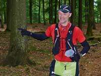 Lars Michael Sørensen fra Trailcast hilser på en tilskuer. Foto: Lars Berlau