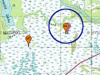 Topografisk kort med GPS-spor som viser,  hvor langt Moses Løvstad kom bort fra sporet den 3. marts 2015