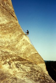 Apr 1977: Jim Rappelling Down Chumstick Snag
