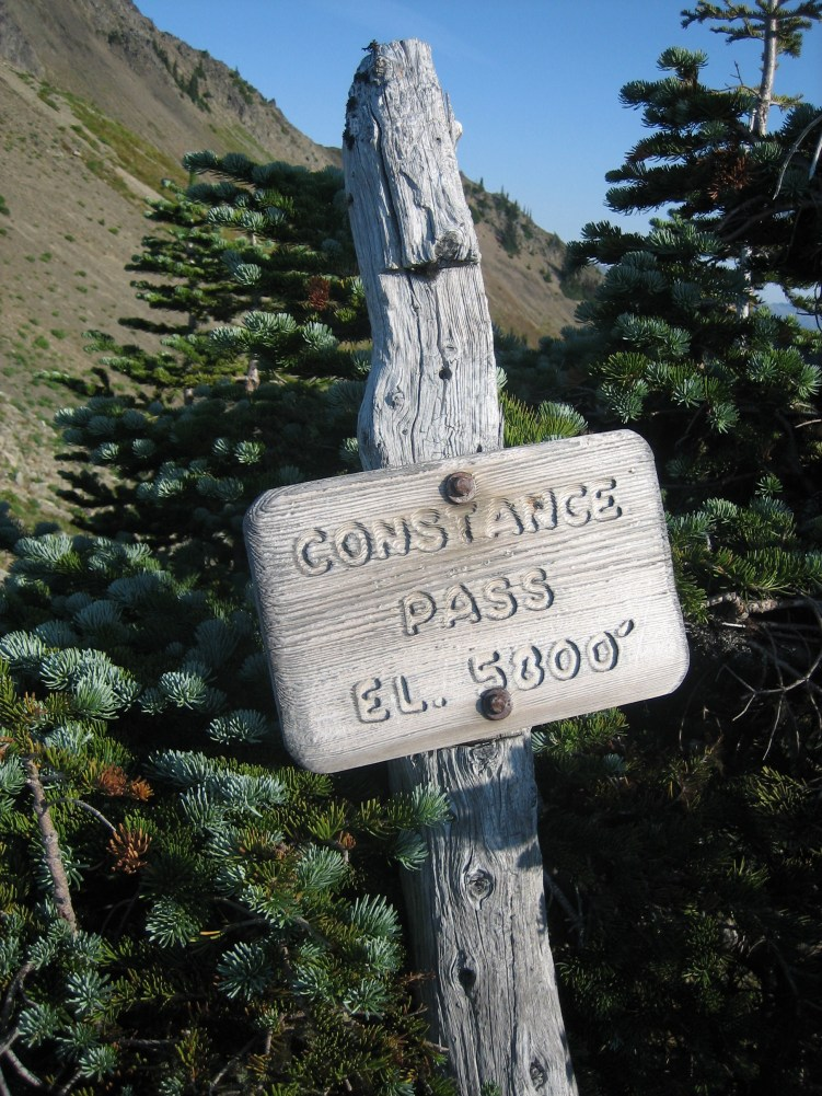 Constance Pass Trail Sign