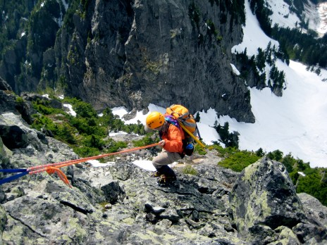 Fay Rappelling Off Summit