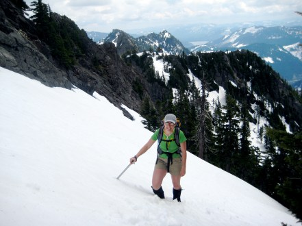 Eileen On Snow Fields Above The Couloir