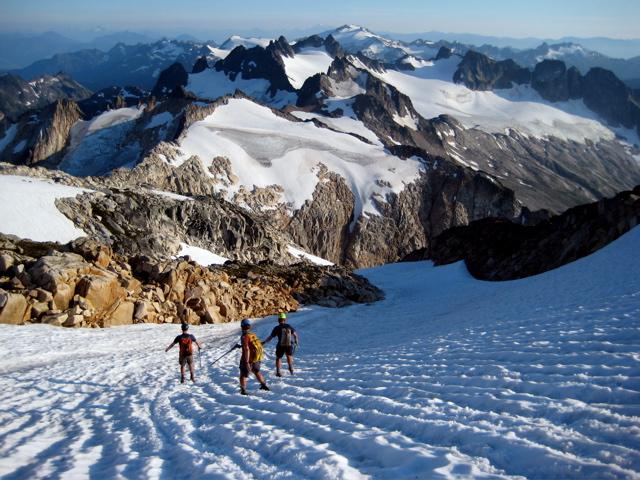 Glissading down Mount Blum