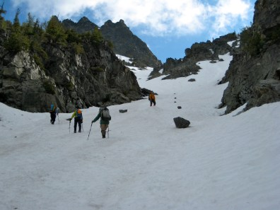 Climbing Past Rock Row In Couloir