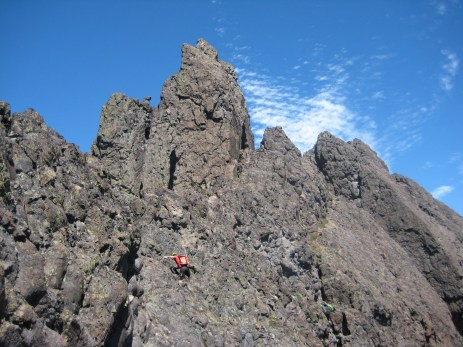 Scrambling Below Summit Pinnacle