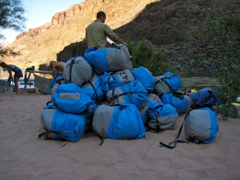 Blue Bags Ready For Loading