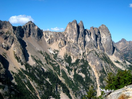 Cornice Peak, Early Winter Spires, and Liberty Bell From Gully