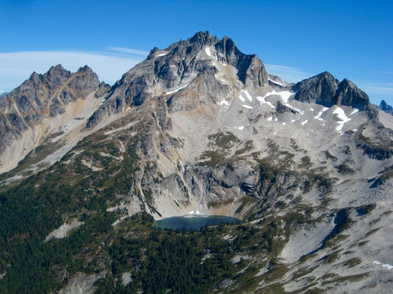 Mad Eagle Peak, Mount Redoubt, and Bear Lake