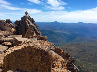 Jim On Mt Ossa Summit Horn (photo by Eileen)