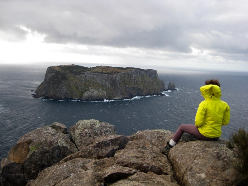 Brooke Studying Tasman Island From Cape Pillar