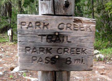 Park Creek Trailhead Sign