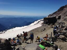 A busy Camp Muir on Sunday. And lots of hot mountaineers - paradise!