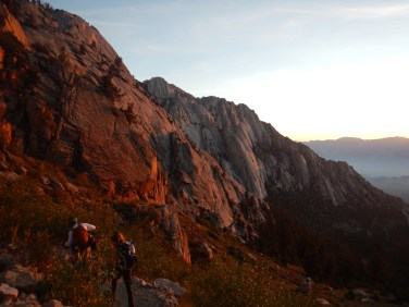 Morning alpenglow on the Whitney trail