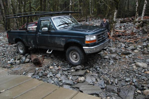 The culvert was too damaged to drive over, so we went around