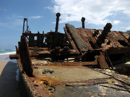 The Maheno Shipwreck on the eastern coast of Fraser