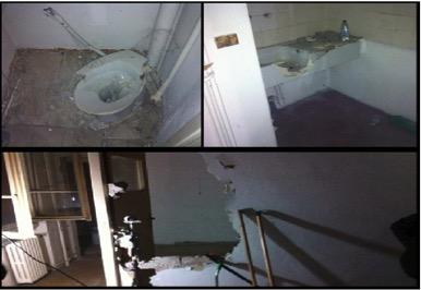 Sanitari, infissi e pareti sfondati dalle forze dell'ordine durante uno sgombero in via Odazio. Immagini offerte dal Comitato degli Abitanti di Giambellino-Lorenteggio.