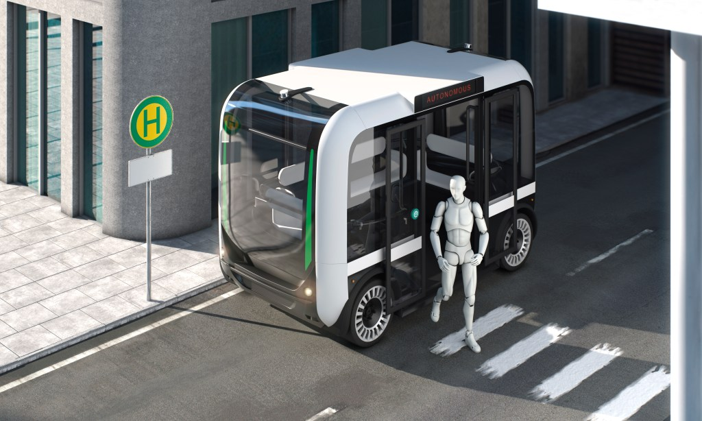 Autonomous bus with passenger exiting on bus stop top down perspective with empty sign 3d rendering