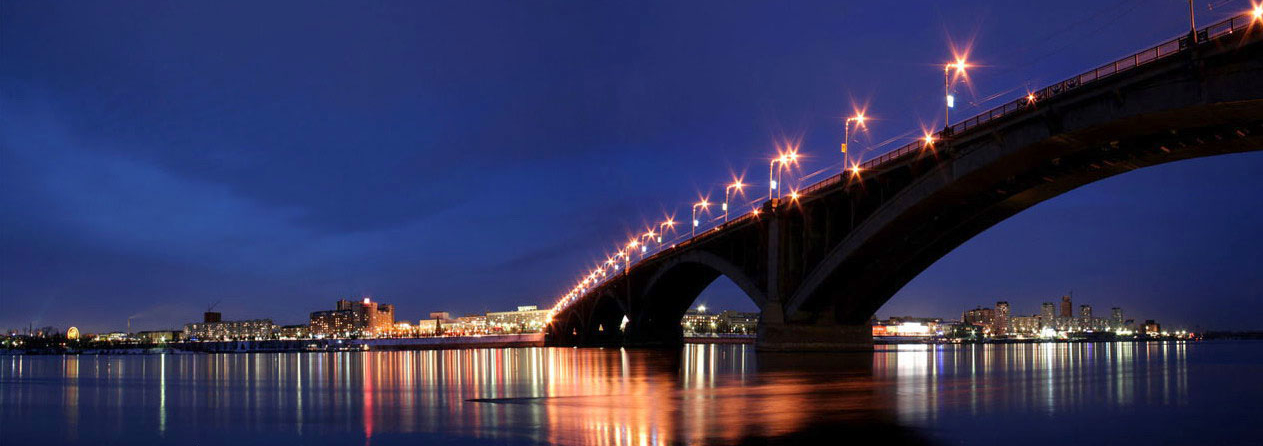 The Yenisei River in Krasnoyarsk at dusk.